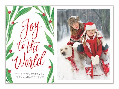 Holly Joy to the World Holiday Photo Card