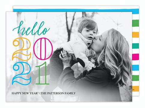 Hello New Year Holiday Photo Card