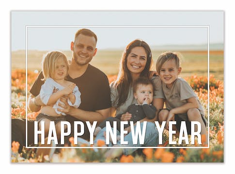 Framed Happy New Year Holiday Photo Card