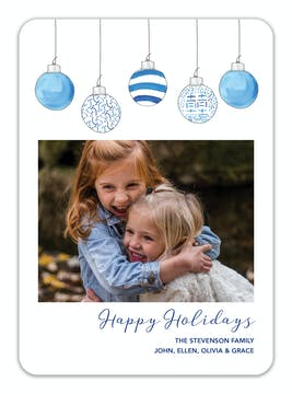 Blue Christmas Holiday Photo Card