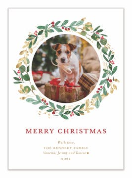 Cheery Wreath Holiday Photo Card