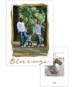 Brushed Frame Blessings Foil Pressed Holiday Photo Card