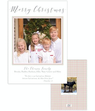 Red and Green Lattice Holiday Photo Card