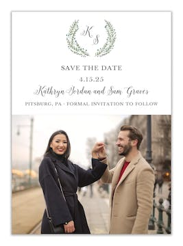 Buds and Greenery Wreath Photo Save the Date