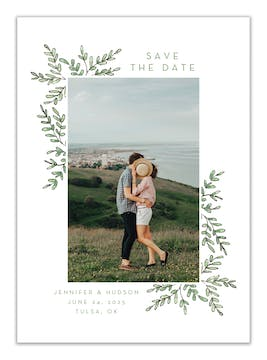 Greenery Frame Photo Save the Date