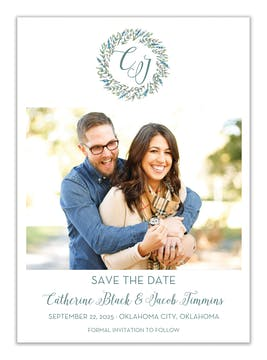 Blue and Green Floral Wreath Photo Save the Date