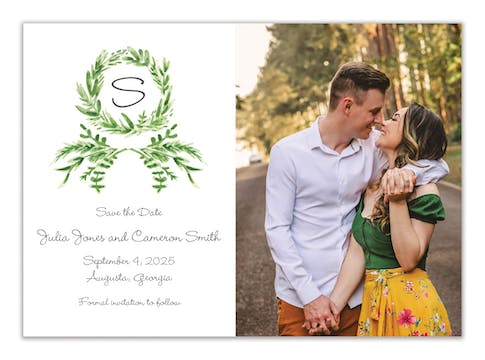 Watercolor Greenery Wreath Photo Save the Date