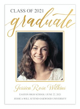 Gold Frame Graduate Photo Announcement
