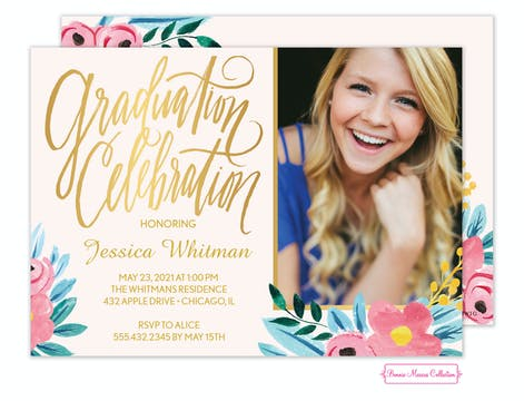 Floral Whimsy Grad Invitation