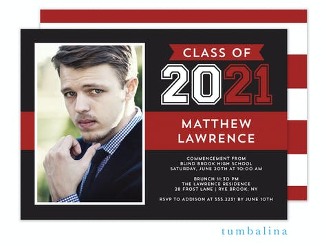 Grad Stacked Flag Red Photo Invitation