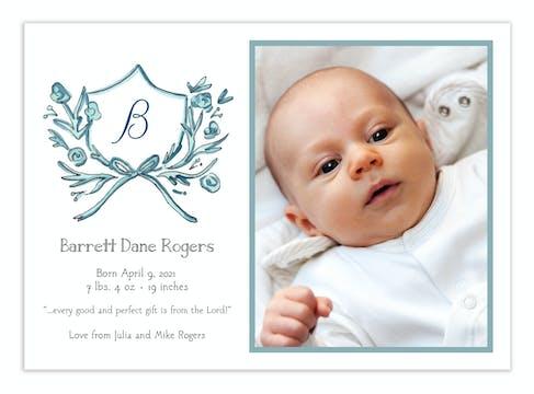 Blue Petite Crest Photo Announcement