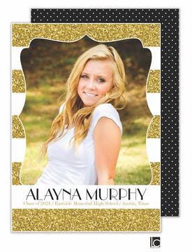 Glitter Graduation Photo Card
