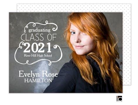 Curly Q Graduation Photo Card