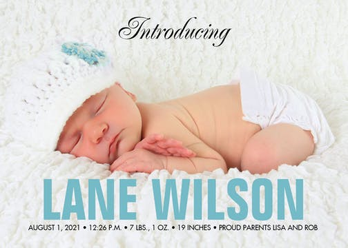 Blue and Bold Vertical Photo Birth Announcement