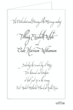Calligraphy White Wedding Folded Program