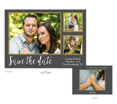 Grey And Gold Love Photo Save The Date Card