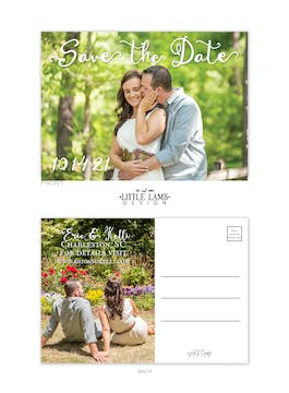 Calligraphy Love Photo Save The Date Postcard