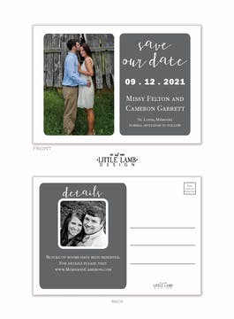 Grey Simplicity Photo Save The Date Postcard