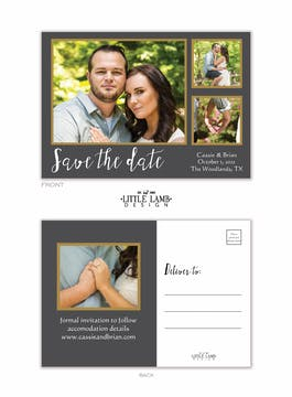 Grey And Gold Love Photo Save The Date Postcard