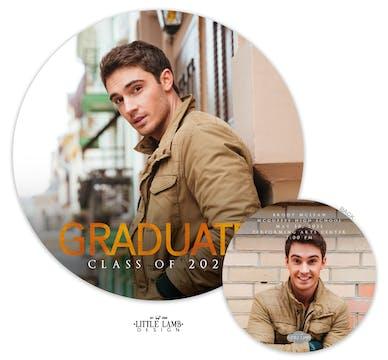 Round Graduate Photo Card Announcement