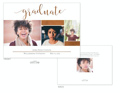 Stated Graduate Photo Card Announcement