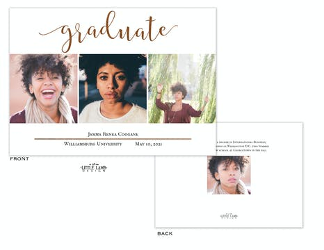 Foil Stated Graduate Photo Card Announcement