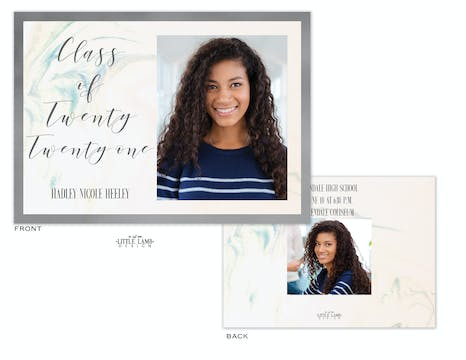 Marbled Watercolors Photo Card Announcement