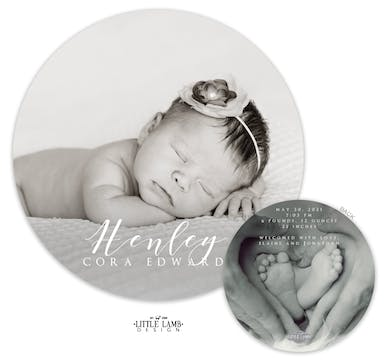 Circle of Love Round Photo Birth Announcement