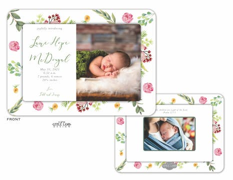 Blooming Baby Photo Birth Announcement