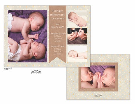 Burlap Banner Photo Birth Announcement