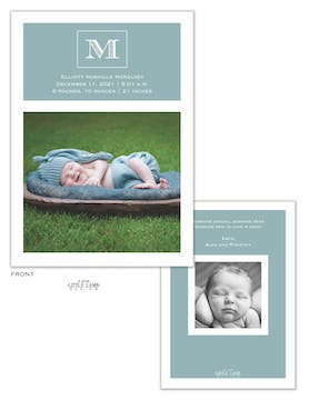 Monogram Showcase Baby Announcement