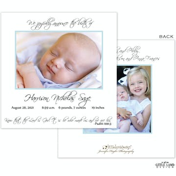 Light Blue Boy Photo Square Birth Announcement