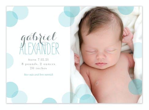 Baby Confetti Blue Photo Birth Announcement