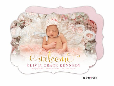 Glowing Welcome (Pink) Baby Photo Birth Announcement