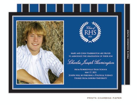 Black and Blue Border Photo Graduation Invitation