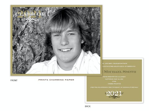 Gold Front & Back Photo Graduation Announcement Card