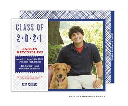 Grey and Blue Crosshatch Photo Graduation Announcement Card