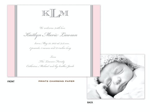 Pink and Grey Border Sweet Petite Photo Birth Announcement