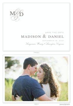 Modern Monogram White Save The Date Photo Card