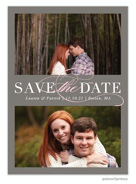 Formal Duo Dark Grey Save The Date Photo Card