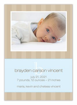 Wonderful Wishes Baby Blue Boy Photo Birth Announcement