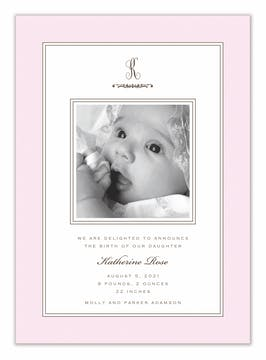 Lovely Baby Pink Girl Photo Birth Announcement Card