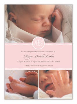 Baby Steps Ballet Girl Photo Birth Announcement