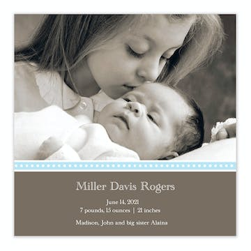 It's A Wonderful Life Blue Boy Photo Square Birth Announcement