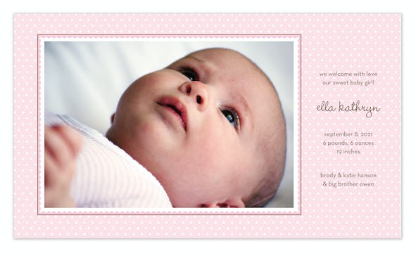 Ruffle Dots Pink Print & Apply Flat Photo Birth Announcement