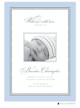 Softly Stated - Blue Boy Photo Birth Announcement