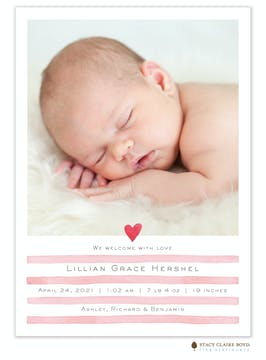 Painterly Stripes Photo Birth Announcement