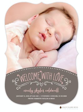 Warm Welcome Photo Birth Announcement