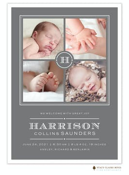Tailored Entrance Photo Birth Announcement