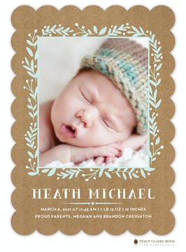 Crafted Introduction Photo Birth Announcement